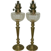 REDUCED Wonderful Pair 19th Century Victorian Cut Glass Peg Oil Lamps w/ Early Pair Brass ...