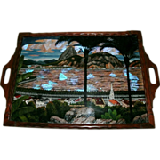 SOLD Vintage Art Deco Rosewood Serving Tray - Reverse Glass Painted & Morpho Butterfly Win