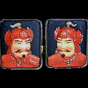 SOLD Vintage Asian TOSHIKANE Arita Porcelain & Sterling Silver Japanese Cuff Links - ...