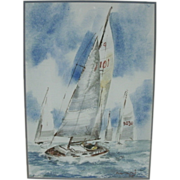 Vintage Watercolor Sailing Scene Painting - Sail Boat Racing Scene - Signed LR hamri '73