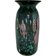 Beautiful Multi Color Studio Art Glass Vase With Millefiori Cane Decoration Signed / Marked  .