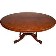 REDUCED Antique Victorian Burl Walnut Mid 19th Century English Oval Top Loo Table w/ Ornate ..