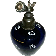 REDUCED Vintage Art Glass Bohemian Czech Deep Cobalt Blue Perfume Bottle w/ Enamel Paint ...