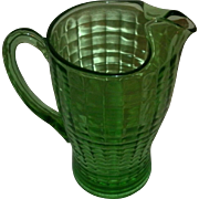 """SOLD Vintage Green Depression Glass """"BLOCK OPTIC"""" Pattern Ice Lip Pitcher - Ribbed P"""
