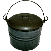 REDUCED Small Antique Gray Graniteware Berry Pail with Tin Lid & Wire Bail Handle - circa 1880