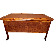 REDUCED Antique Late 19th Early 20th Century Tiger Bamboo Blanket Chest - Hinged Lid