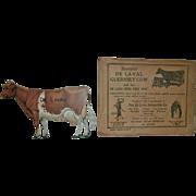 REDUCED Vintage Tin Litho Souvenir DE LAVAL Guernsey Cow Advertising Figure with Original ...
