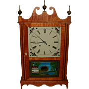 SOLD Exceptional Bench Made Tiger Maple Federal Style Eli Terry Pillar & Scroll Clock - Brass