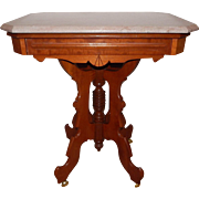 REDUCED Victorian / Eastlake Solid Walnut Brown Marble Top Parlor Table - Circa 1870