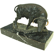 Artisan Bronze Bull Sculpture On A Marble Base By Moreno, Spain.