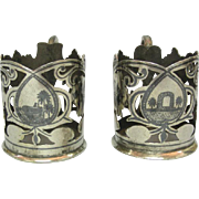 SOLD Pair Of Silver & Niello Glass Holders Middle East Ca 1920.