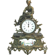 French Bronze Shelf Mantle Clock, Ca 1900.