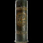 Rare Bezalel Trench Art Brass Shell Case Vase, Jerusalem, 1918