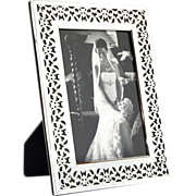 SALE High Quality English Sterling Silver Mounted Wood Pierced Photo Picture Frame.