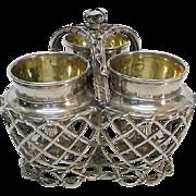 Novelty Continental Silver Egg Cups Cruet Set In a Basket Frame, Circa 1830.