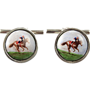 Equestrian Interest - Pair of Sterling Silver & Enamel Horse & Jockey Cufflinks.