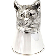 Novelty Sterling Silver Cat Stirrup Cup.