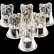 Novelty Sterling Silver 6 Bulldog Stirrup Cups Vodka Tots Set.