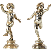 Buccellati Sterling Silver Pair of Figural Table Ornaments Sculptures, Milan, Italy, 20th ...