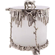 Novelty English Silver Plated and Glass Polar Bear Ice Bucket.