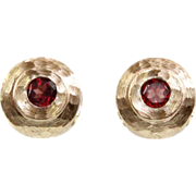 14 Karat Yellow Gold and Garnet Earrings