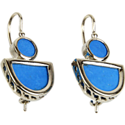 Pair of 14 Karat White Gold & Turquoise Earrings.