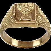 9 Karat Yellow Gold Unisex Menorah Ring Judaica