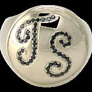 14k White Gold Black Diamond Personalized Monogram Initial Signet Unisex Ring