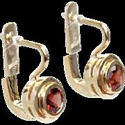 New Pair of 14 Karat Yellow Gold and Garnet Earrings.