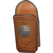 SOLD Jake Wood Leather Designed Pocket Clip Phone/Telephone Holder~Coin 1926 Token on Front