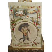 SOLD Cloth Center Postcard~Mother Cat Carrying Kittens Under Umbrella Happy New Years