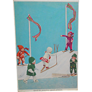SOLD 1930's Fantasy Doll Winter Sports Skiing Postcard~Sport de poupees