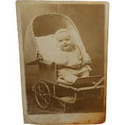 SOLD 1920's Real Photo Little Baby in Wicker Stroller Postcard~Imogene Grubbs