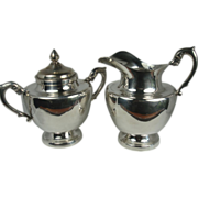 SALE Very Heavy L Maciel Sterling Creamer and Sugar Bowl