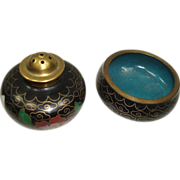 SALE Vintage Cloisonne Open Salt and Pepper Shaker