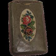 SALE Leather Floral Needlepoint Match Safe