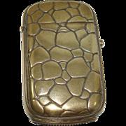 REDUCED Alligator Skin Brass Match Safe or Vesta