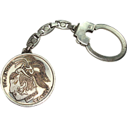 SALE Sterling key Chain with Mexican Palenque Coin