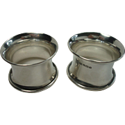 SALE Matching Pair of Sterling Concave 1925 Napkin Rings