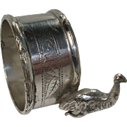 SALE English Silver Plate Emu Napkin Ring Holder