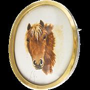 Gorgeous Horse Tempera Painting Miniature Brooch / Pendant,  in 750 / 18 Karat Gold c. 1950