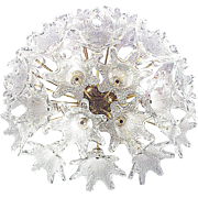 Murano-Glass-Flower-Sputnik-Flush mount-Chandelier-Venini-Mazzega VeArt Italy 60s