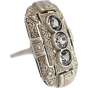 Gorgeous huge Edwardian Art Deco 835 Silver Ring with 3 light blue Aquamarines 1930s