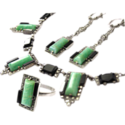 Art Deco Silver Set Amazonite onyx agate marcasite ring earrings necklace Collier