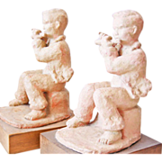 Art Deco bookends ceramic Figures  signed Dornberg pedestal body  wood transverse flute player