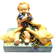 ceramic figure Putto flowers ducks Fachschule Keramik Bechyn e ceramic pottery