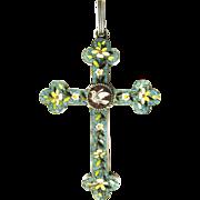 Micro Mosaic Silver Pendant Cross Millefiori glass mosaic 19th century