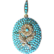 Magnificent Antique Victorian Biedermeier silver locket pendant turquoise sweet water pearl ..