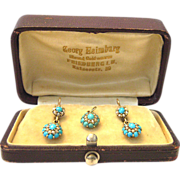 Antique Georgian 585 Gold Turquoise Earrings and Pendant Set micro sweet water seed pearls ...
