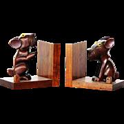 Dan Karner Paris Art Deco bookends carved nut wood terrier dogs